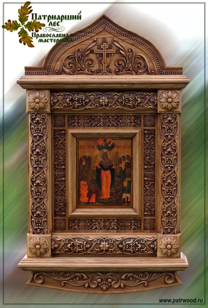 Киот настенный, киот резной, изделия из дуба, церковная утварь, православие, христианство, убранство для храма, икона, резьба, орнамент, растительный орнамент, 3d