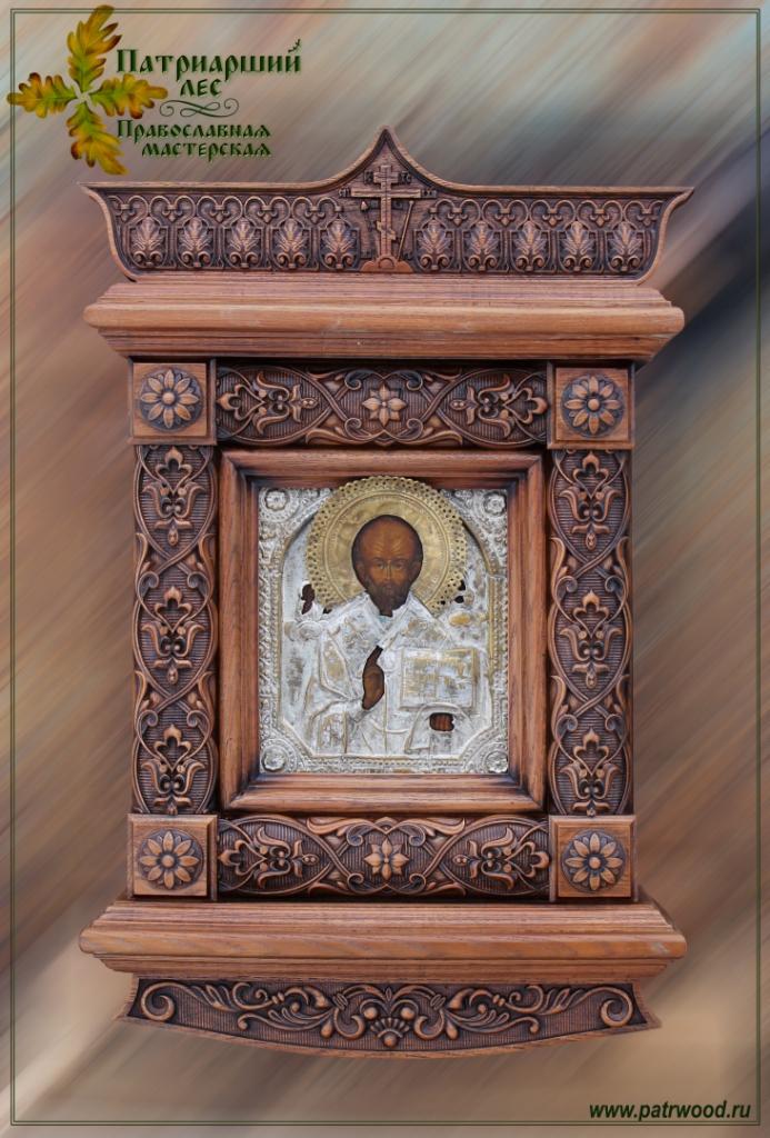 Киот настенный, киот резной, изделия из дуба, церковная утварь, православие, христианство, убранство для храма, икона, резьба, орнамент, древнерусский орнамент, растительный орнамент, 3d