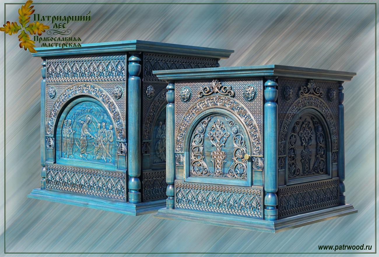 Престол, рубашка престола, алтарь, резные иконы, Воскресение, Воскресение Христово, Евхаристия, Распятие, Положение во гроб, изделия из дуба, церковная утварь, православие, христианство, убранство для храма, резьба, византийский орнамент, растительный орнамент, орнамент, 3d